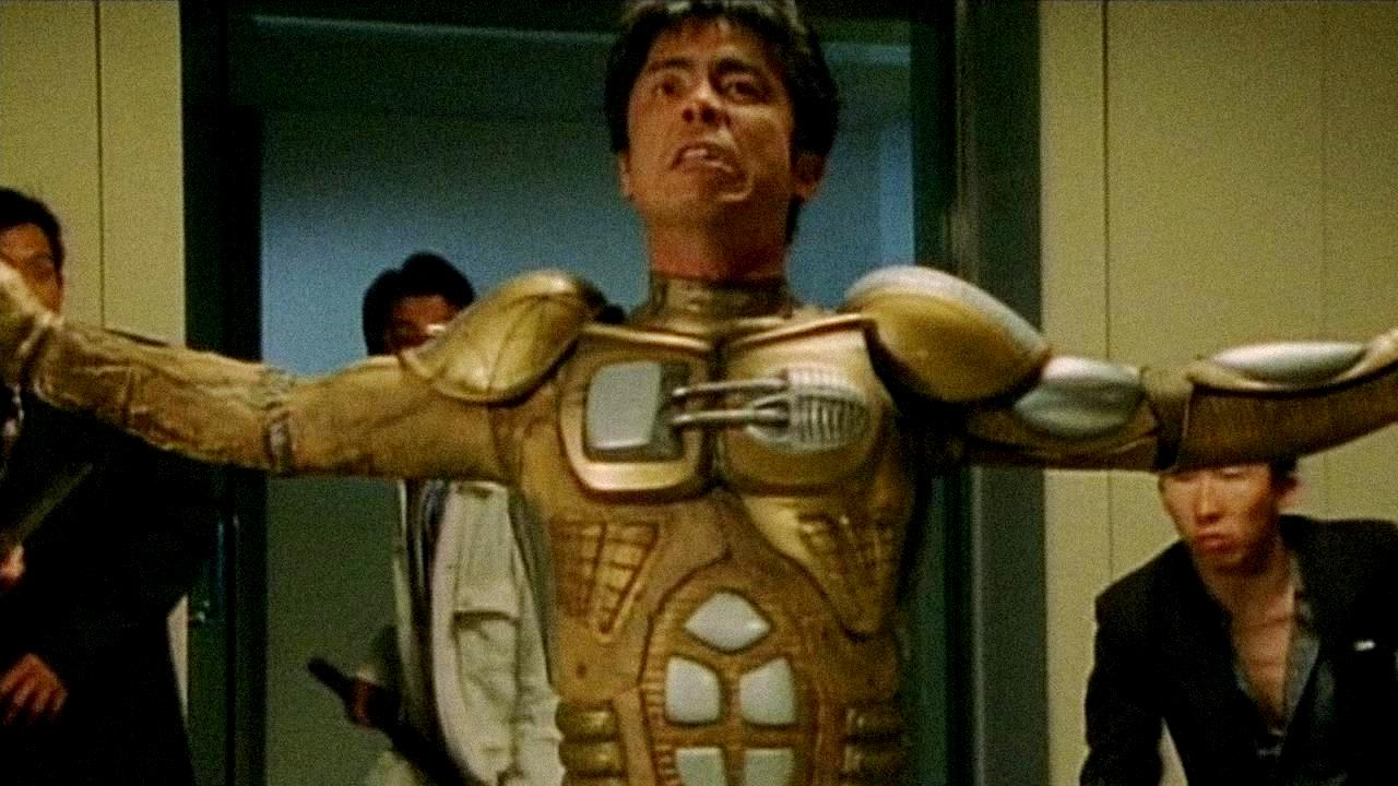 Tsuyoshi Ujiki as Hagane rebuilt in a cyborg body in Full Metal Yakuza (1997)