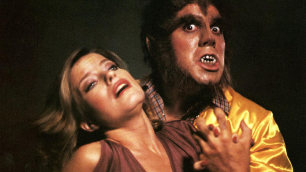 A werewolf Adam Arkin with Joanne Nail in Full Moon High (1982)