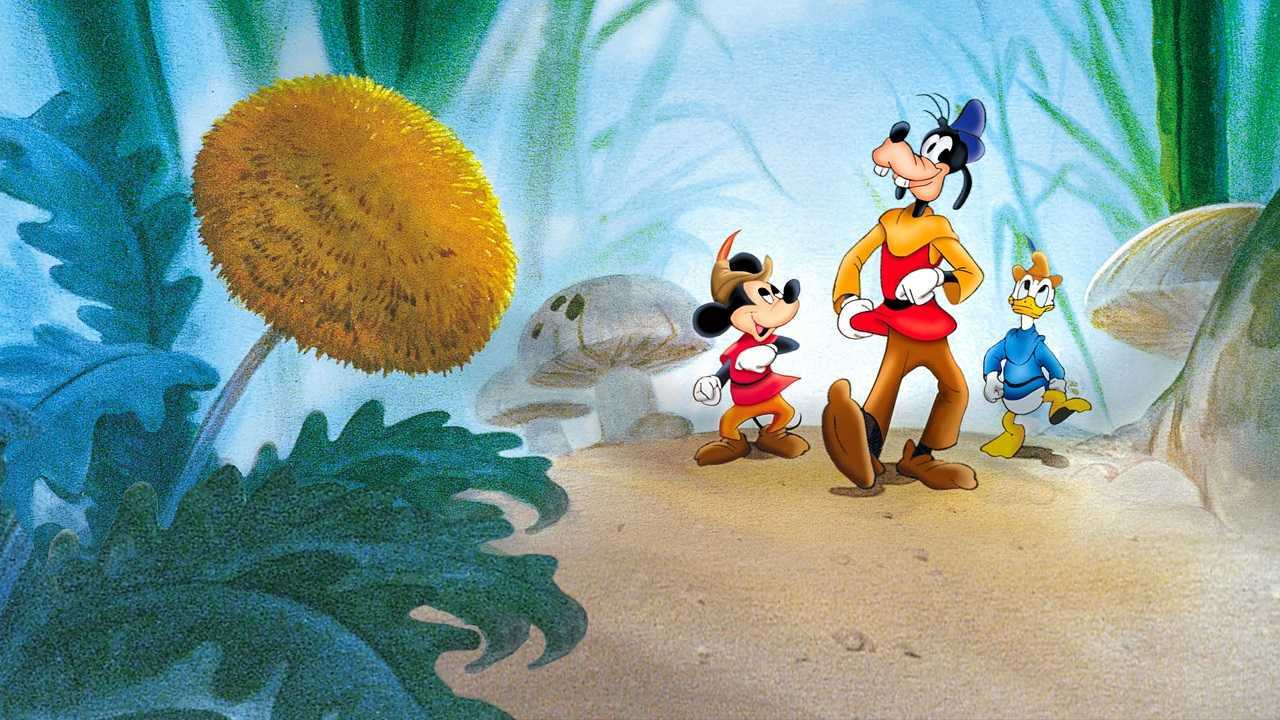 Mickey Mouse, Goofy and Donald Duck in a retelling of Jack and the Beanstalk in Fun and Fancy Free (1947)