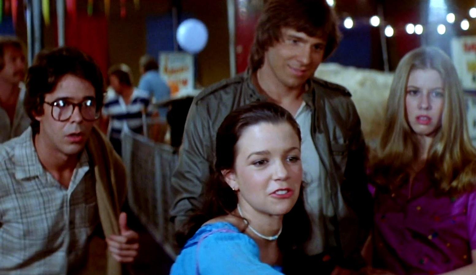 Miles Chapin, Elizabeth Berridge, Cooper Huckabee, Largo Woodruff in The Funhouse (1981)