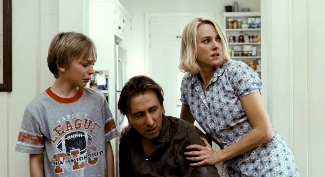 Husband and wife Tim Roth and Naomi Watts and their son Devon Gearhart under assault by home invasion in Funny Games U.S. (2007)