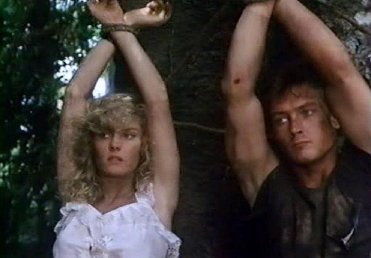 Linda Carol and Robert Patrick in Future Hunters (1986)