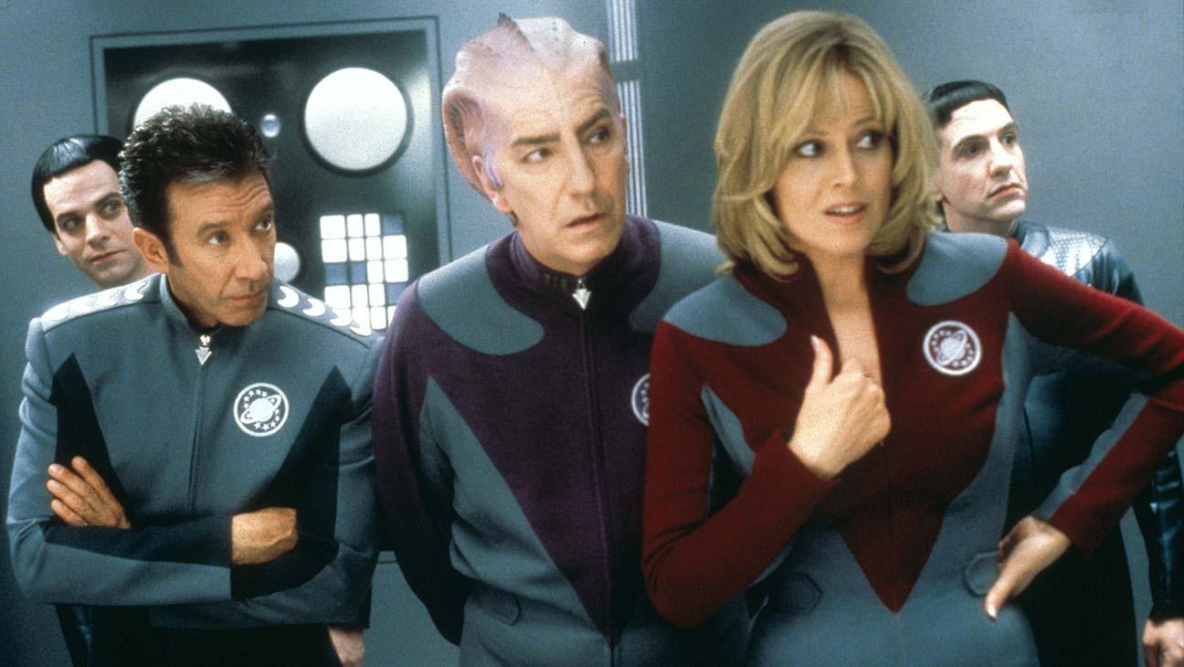 Jason Nesmith (Tim Allen), Alxander Dane (Alan Rickman) and Gwen DeMarco (Sigourney Weaver) in GalaxyQuest (1999)