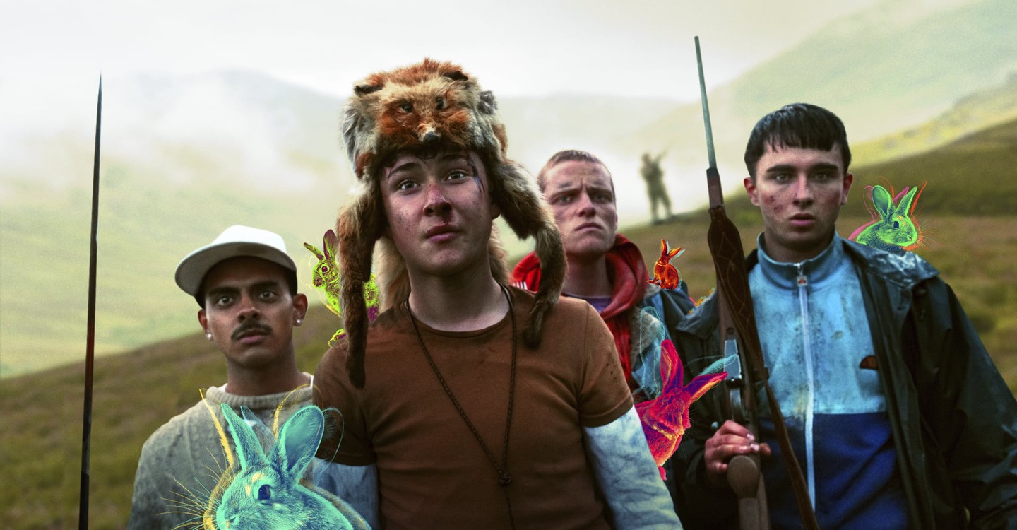 Four misfit youths on a survival course in the Scottish Highlands – DJ Beatroot (Viraj Duneja), Ian (Samuel Bottomley), , Duncan (Lewis Gribben) and Dean (Rian Gibbon) in Get Duked! (2019)