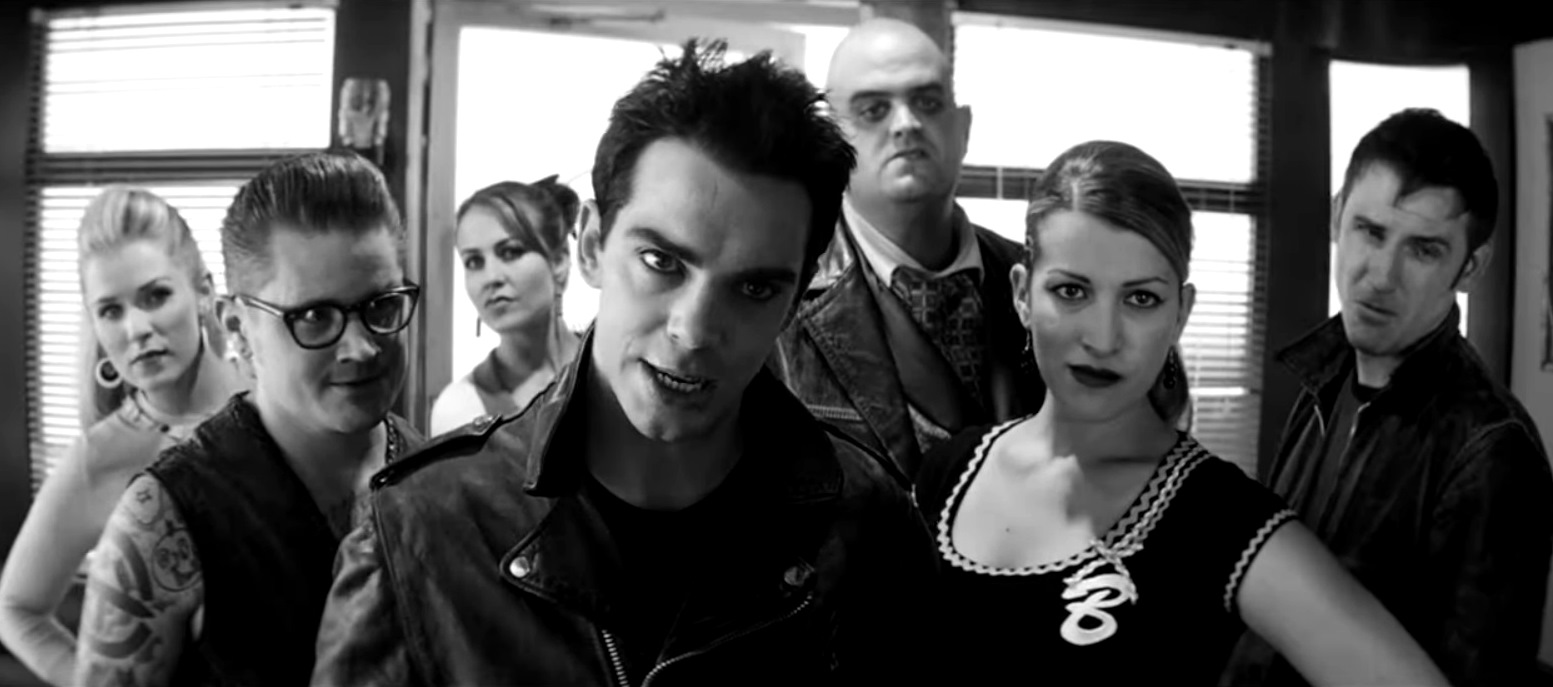 Johnny Xavier (Will Keenan) and his gang The Ghastly Ones arrive at the diner in The Ghastly Love of Johnny X (2012)