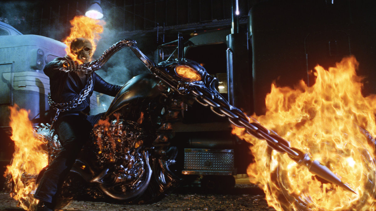 Ghost Rider on flaming motorcycle in Ghost Rider (2007)