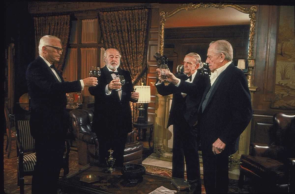 The Chowder Society gather - (l to r) Douglas Fairbanks Jr, John Houseman, Fred Astaire and Melvyn Douglas in Ghost Story (1981)