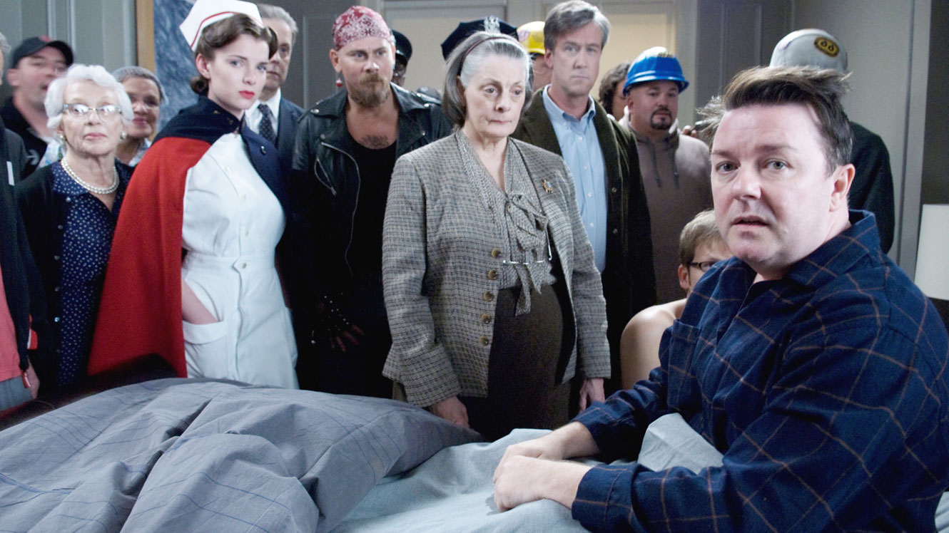 Ricky Gervais (r) wakes from anaesthesia with the ability to see ghosts in Ghost Town (2008)