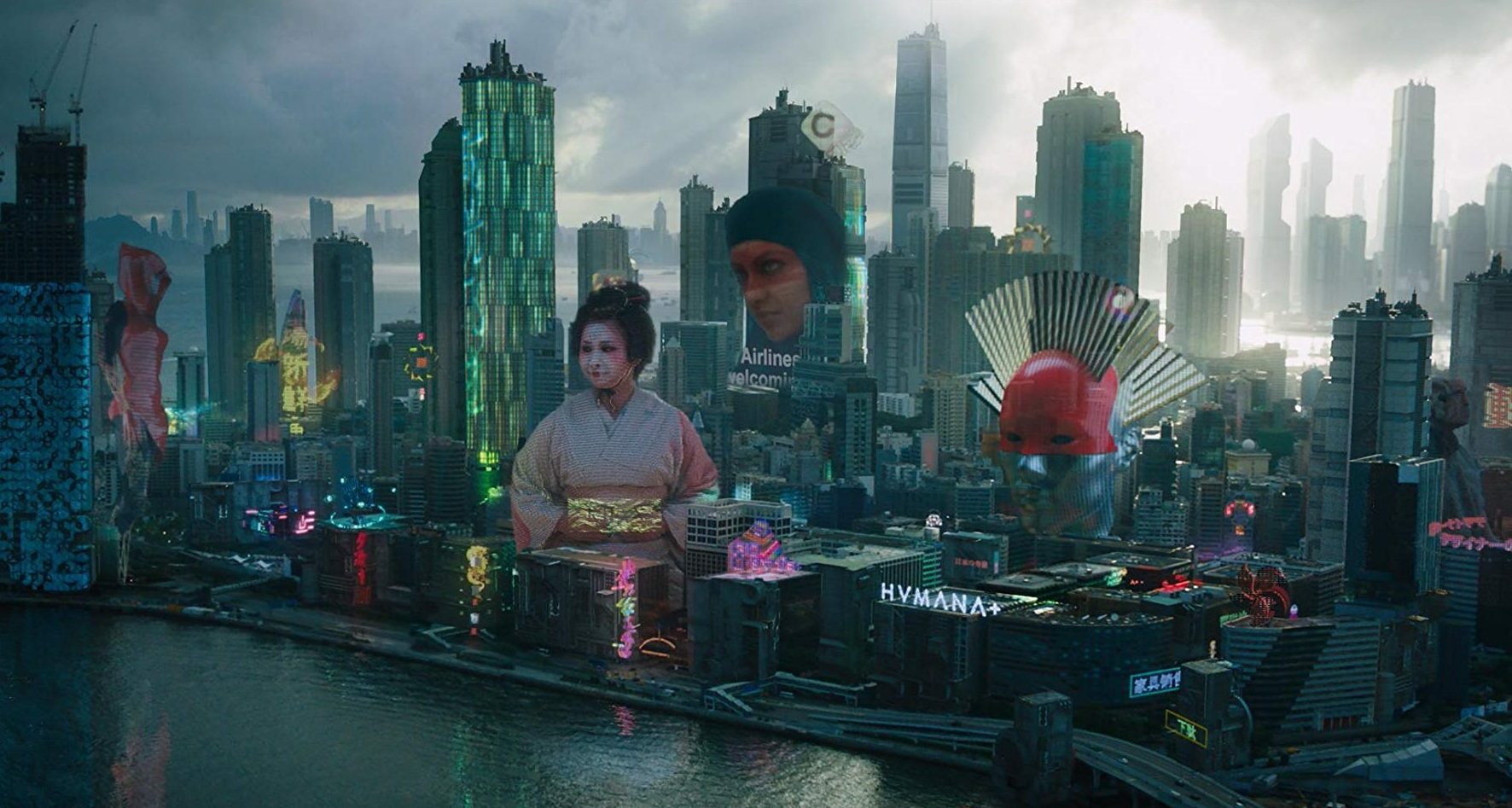 Cityscape of the future from Ghost in the Shell (2017)