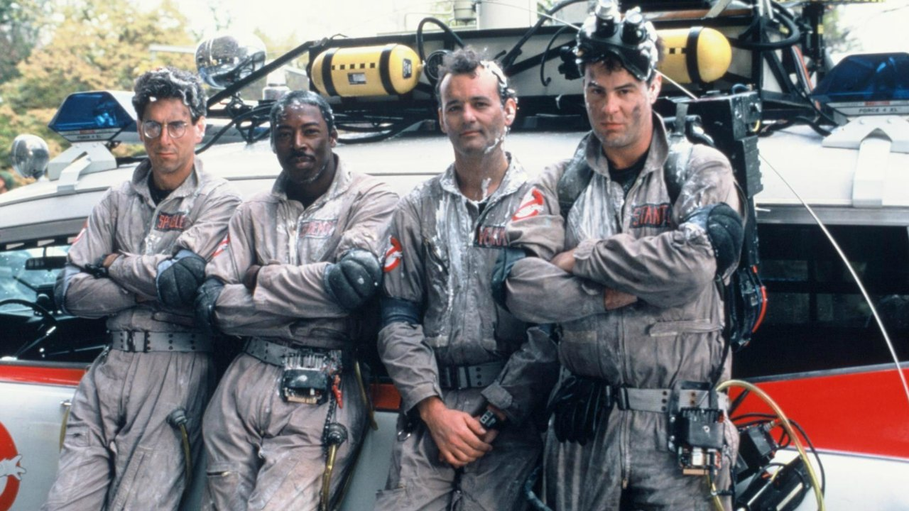 The Ghostbusters in action - (l to r) Egon Spengler (Harold Ramis), Winston Zeddmore (Ernie Hudson), Peter Venkman (Bill Murray) and Ray Stantz (Dan Aykroyd) in Ghostbusters (1984)