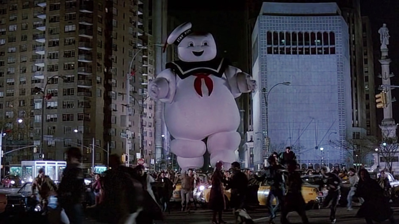The Stay Puft Man amok in the streets of New York in Ghostbusters (1984)