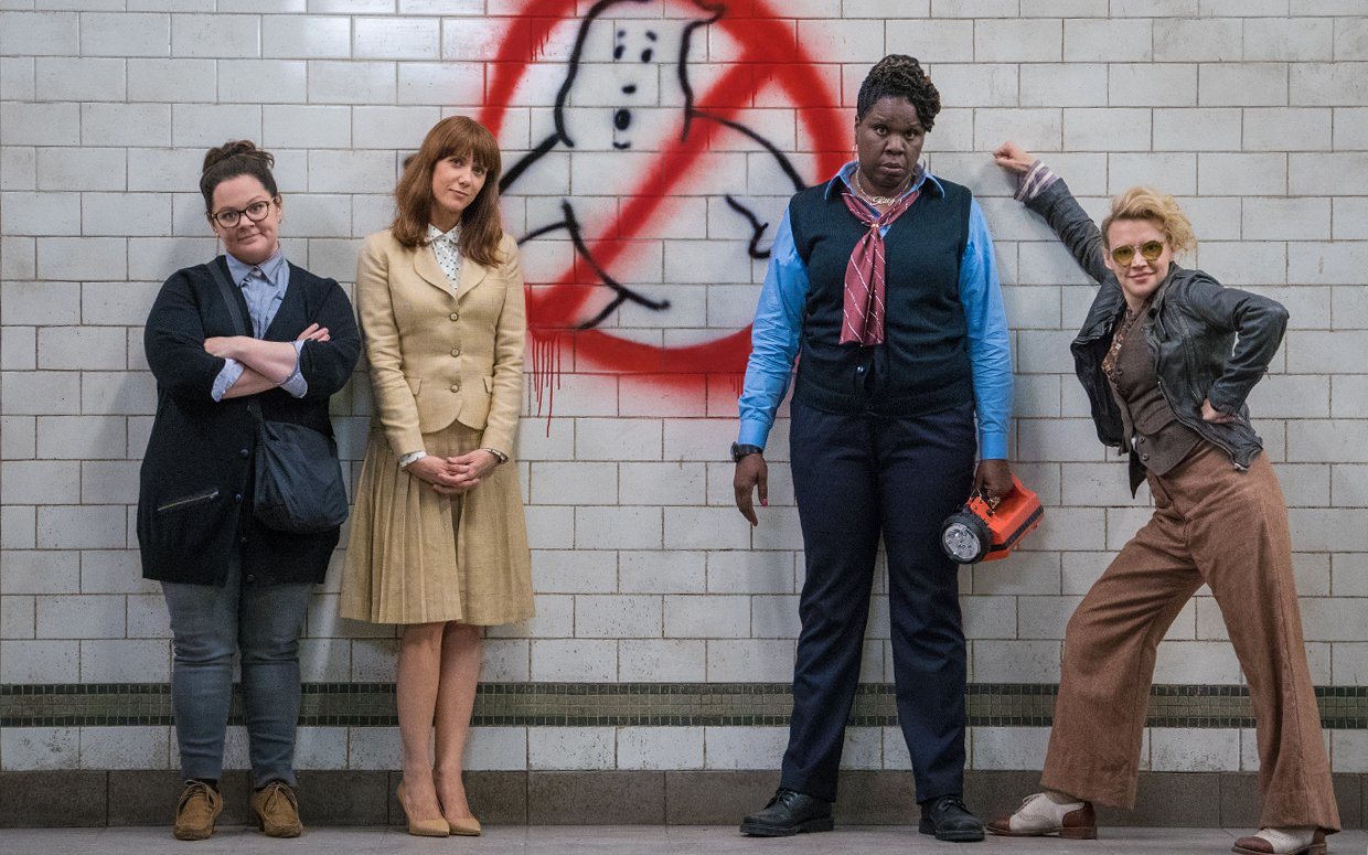 Ghostbusters with an all-girl line-up - (l to r) Melissa McCarthy, Kirsten Wiig, Leslie Jones, Kate McKinnon in Ghostbusters (2016)
