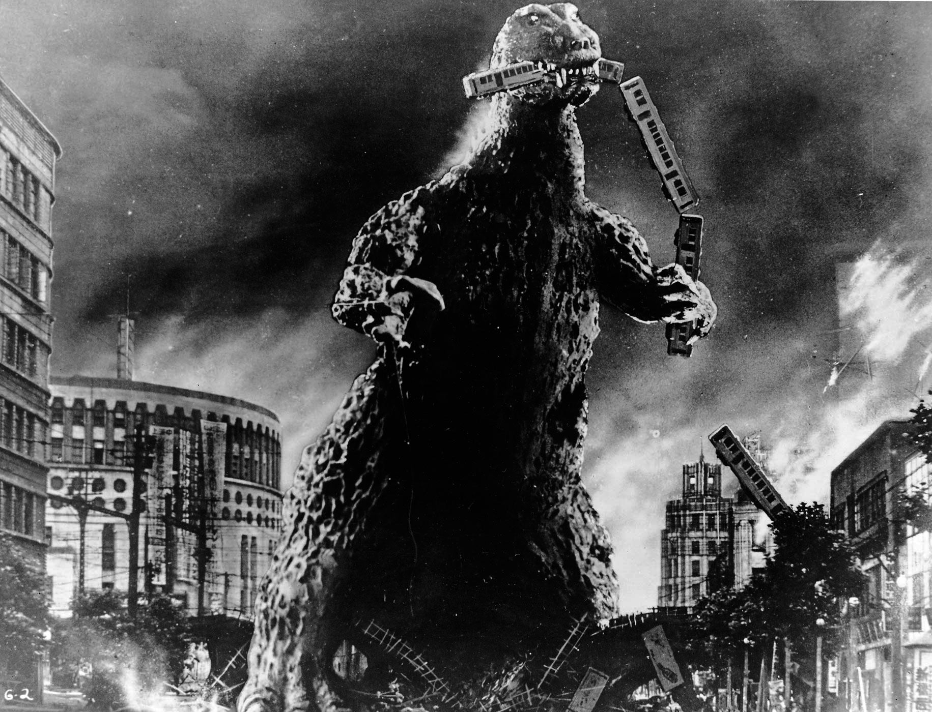 Godzilla rampages through Tokyo in Godzilla, King of the Monsters (1954)
