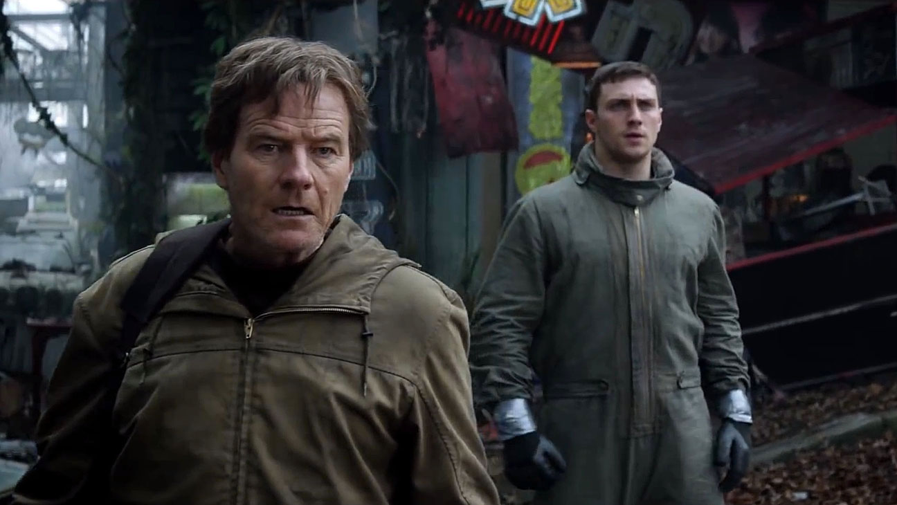 Bryan Cranston and son Aaron Taylor-Johnson in Godzilla (2014)