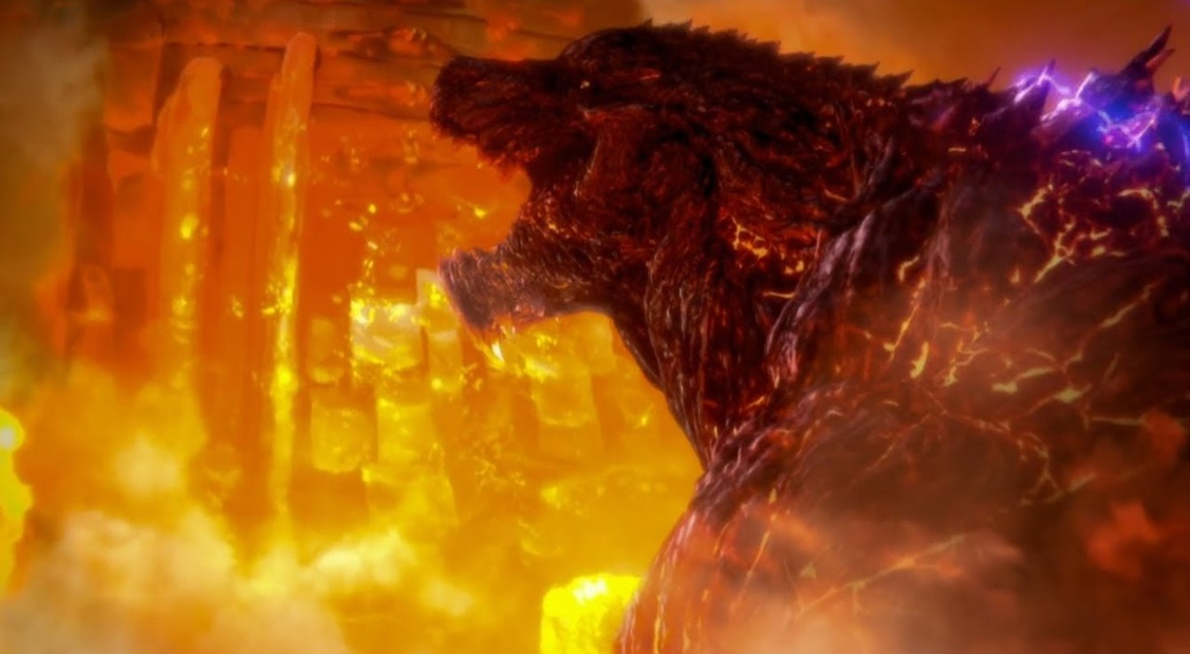 Godzilla proceeds into Mechagodzilla city and the nanometal trap in Godzilla: City on the Edge of Battle (2018)