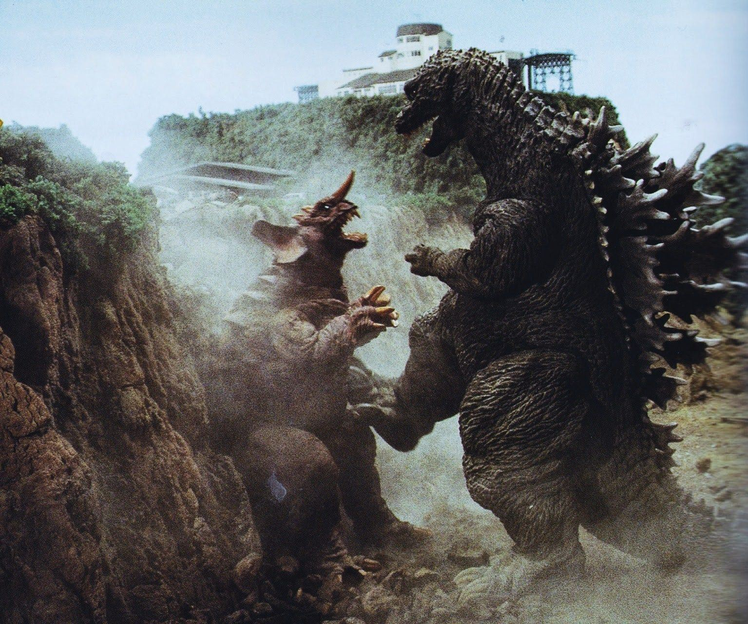 Godzilla beats up Baragon in Godzilla Mothra and King Ghidorah: Giant Monsters All-Out Attack (2001)