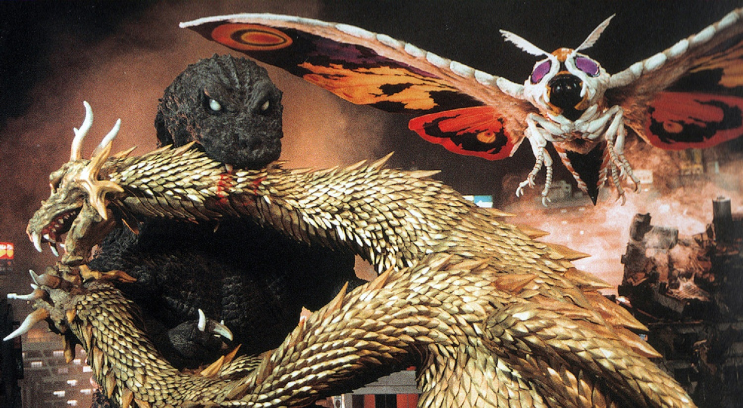 Monster line-up - Godzilla, King Ghidorah and Mothra in Godzilla Mothra and King Ghidorah: Giant Monsters All-Out Attack (2001)