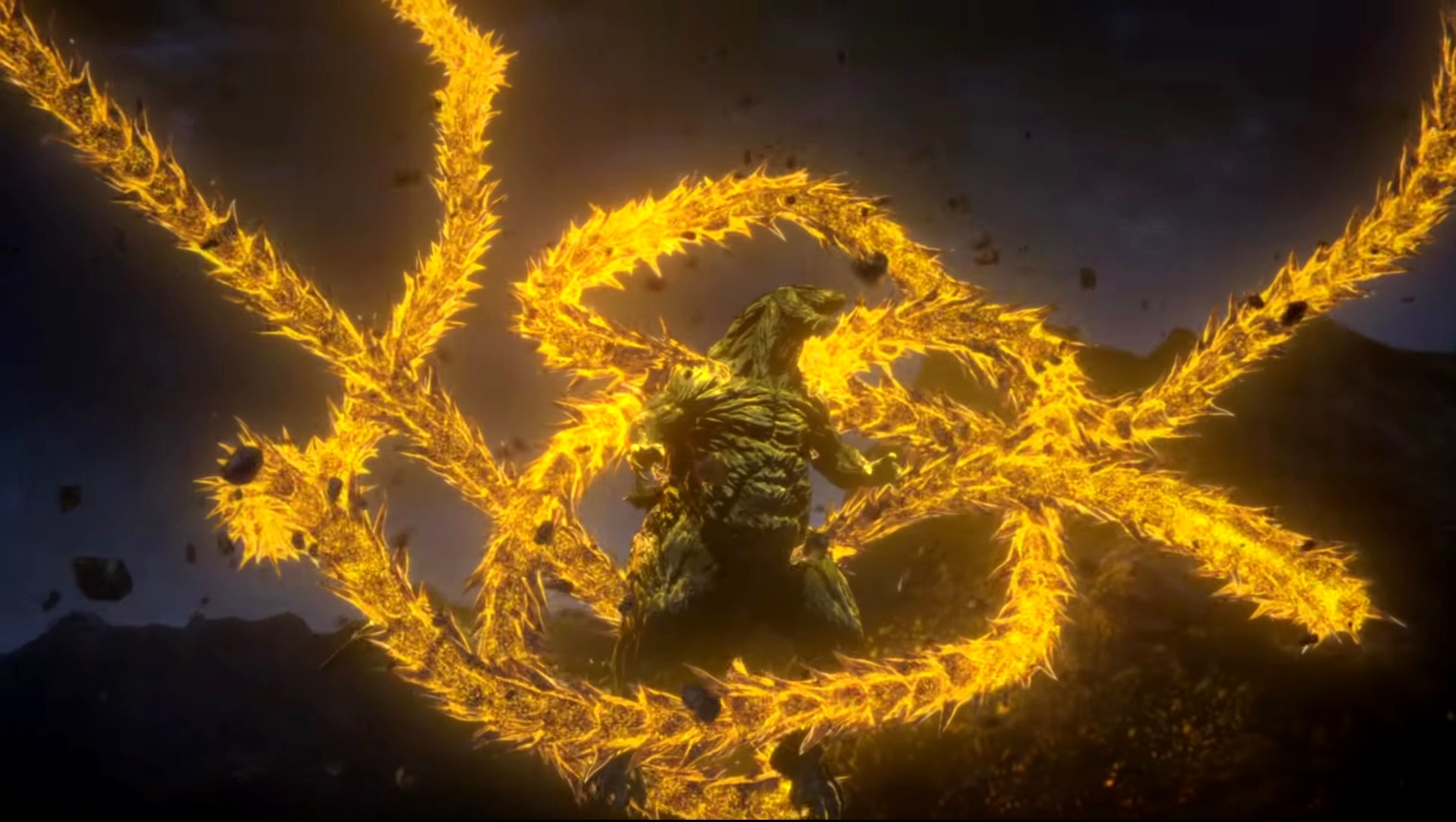 Godzilla ensnared by the energy ribbons of Ghidorah in Godzilla: The Planet Eater (2018)
