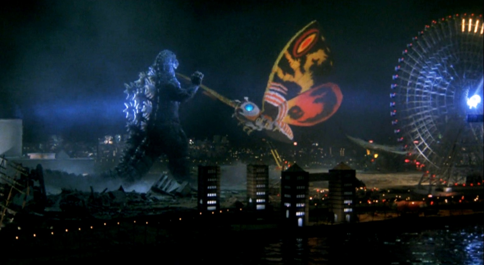 Godzilla and Mohtra battle in Godzilla and Mothra: The Battle for Earth (1992)