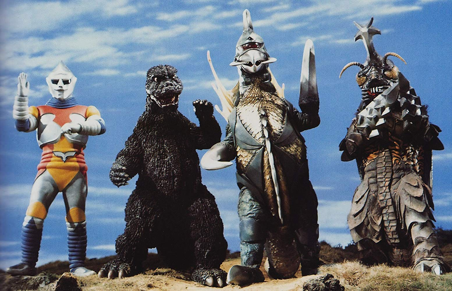 Monster line-up - Jet Jaguar, Godzilla, Gigan and Megalon in Godzilla vs Megalon (1973)
