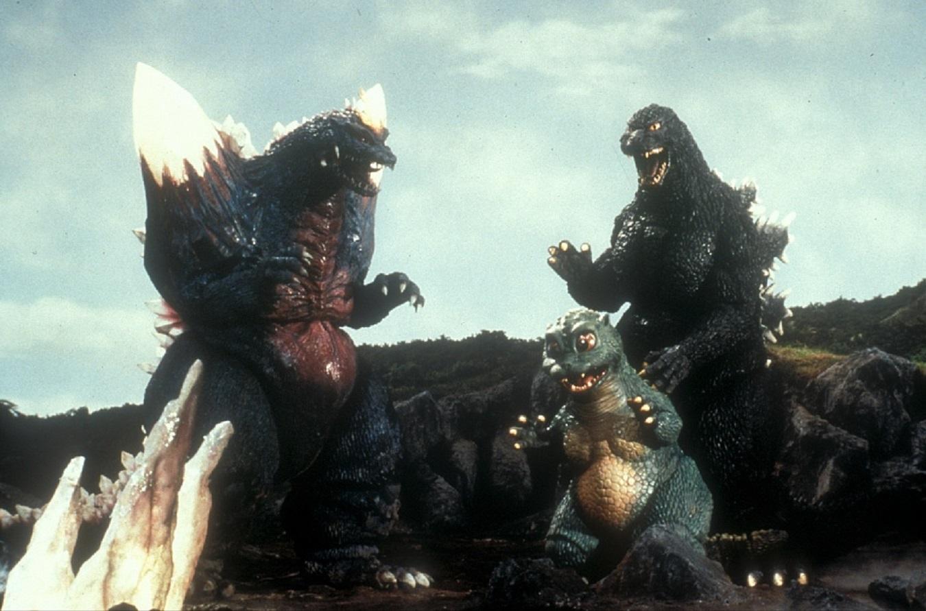 Monster line-up - Space Godzilla, Baby Godzilla and Godzilla - Godzilla vs Space Godzilla (1994)