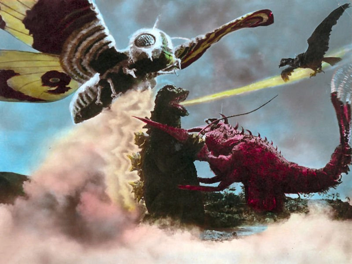 Mothra, Godzilla and Rodan battle the crab monster Ebirah in Godzilla vs the Sea Monster (1966)