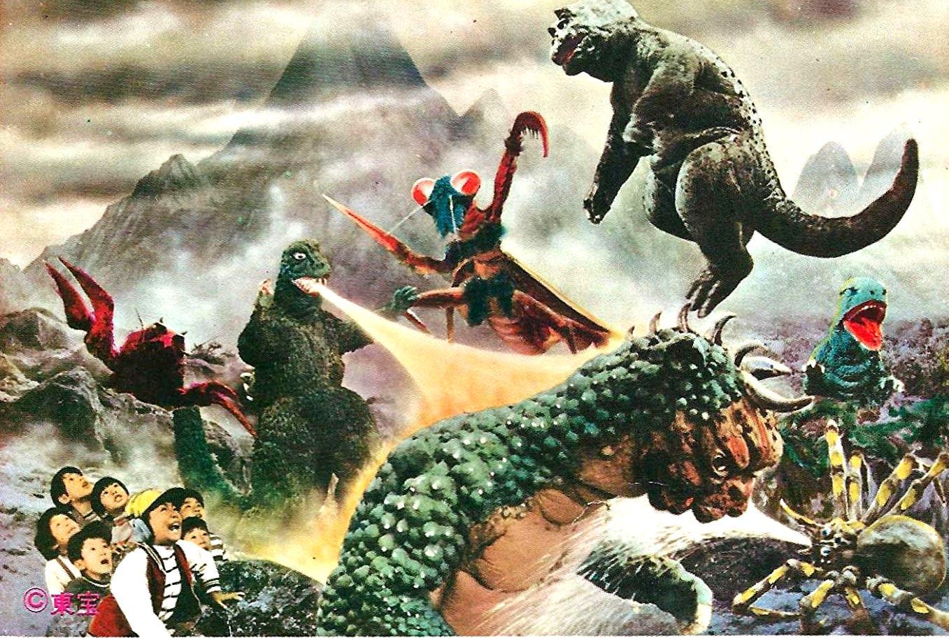 Monster line-up - (l to r) (top row) Ebirah, Godzilla, Kamacurus, Minya, Ganara; (foreground) Manda and Kumonga in Godzilla's Revenge (1969)
