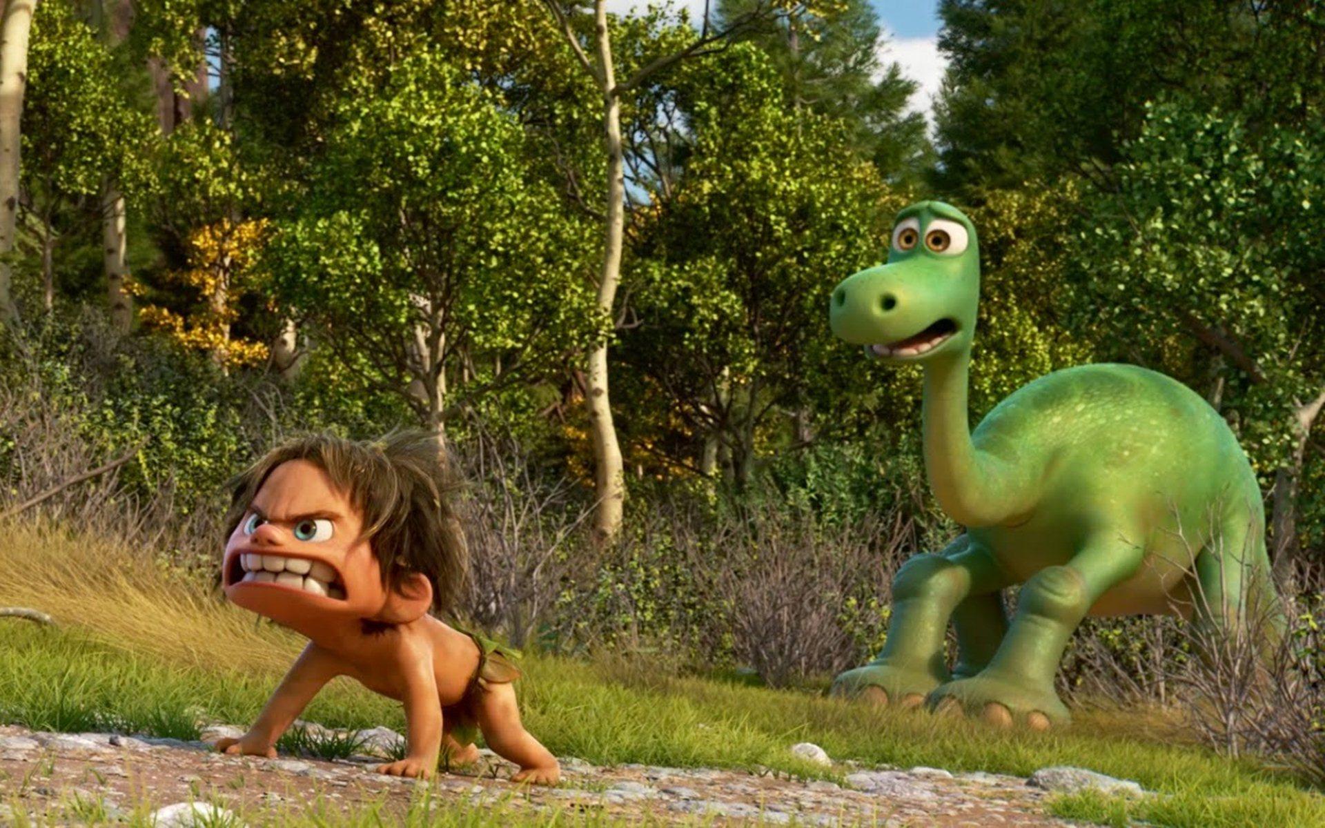 Spot the Cro-Magnon boy (voiced by Jack Bright) and Arlo the dinosaur (voiced by Raymond Ochoa) in The Good Dinosaur (2015)