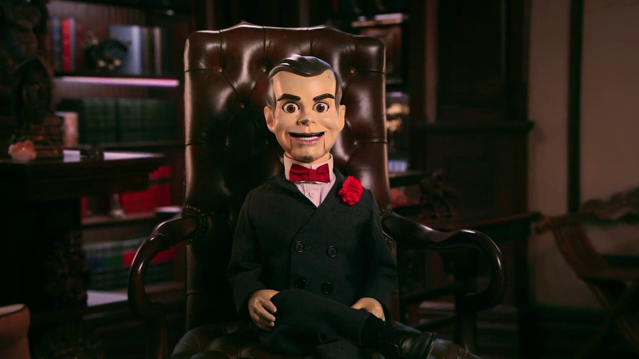 Slappy the evil ventriloquist's dummy (voiced by Mark Winert) becomes the star of the show in Goosebumps 2 (2018)