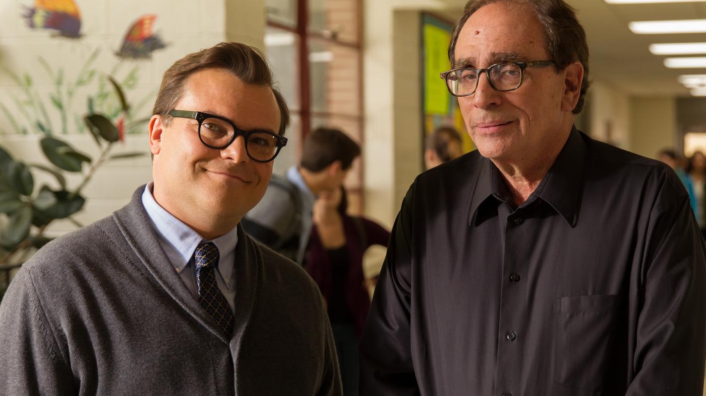 Jack Black cast as horror author R.L. Stone alongside the real-life R.L. Stine in Goosebumps (2015)