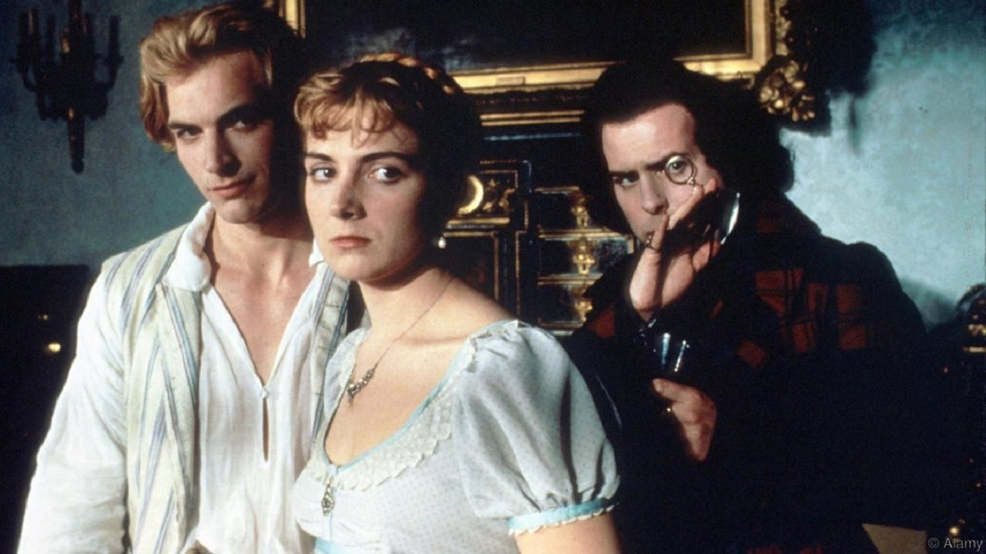 Percy Shelley (Julian Sands), Mary Shelley (Natasha Richardson), Dr Polidori (Timothy Spall) in Gothic (1986)