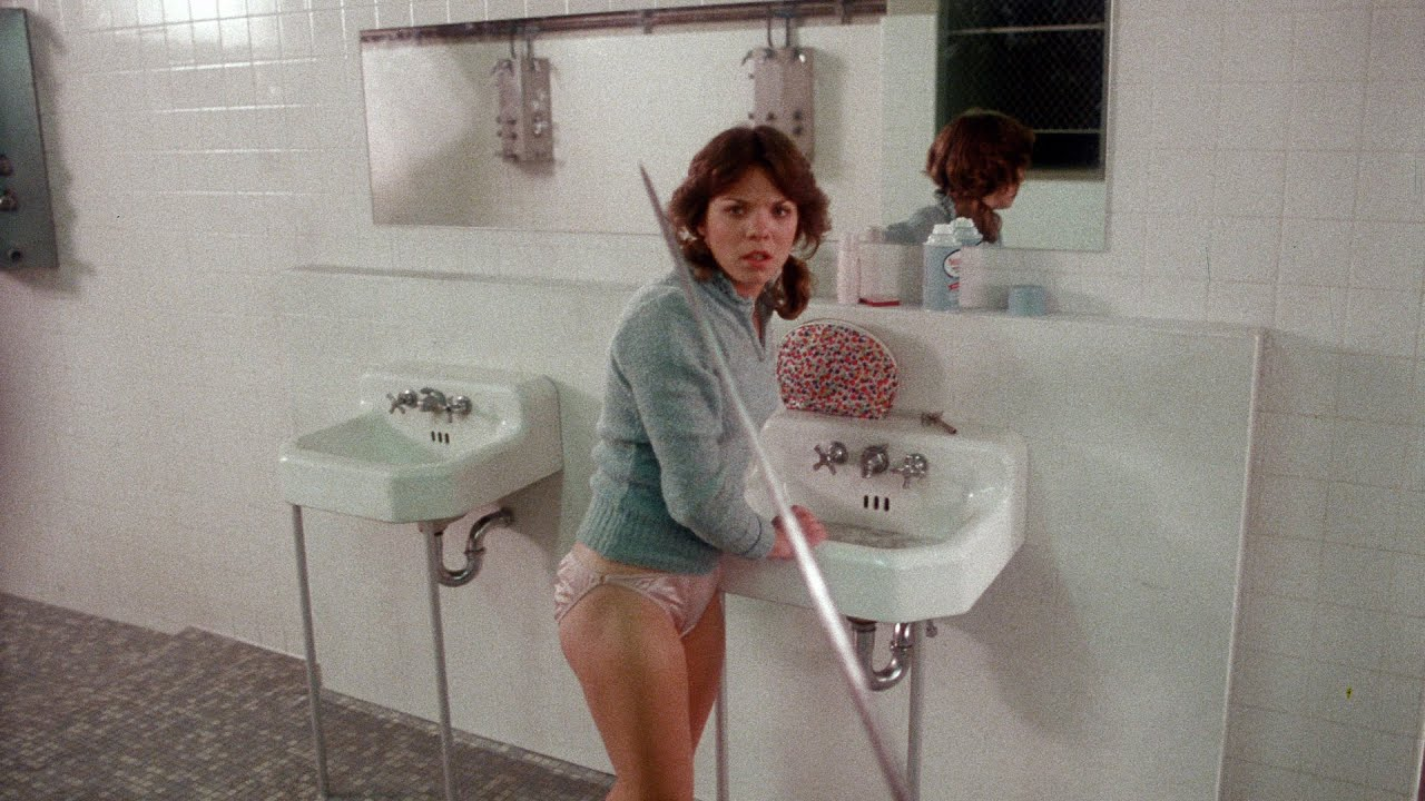 Denise Cheshire is stalked in Graduation Day (1981)