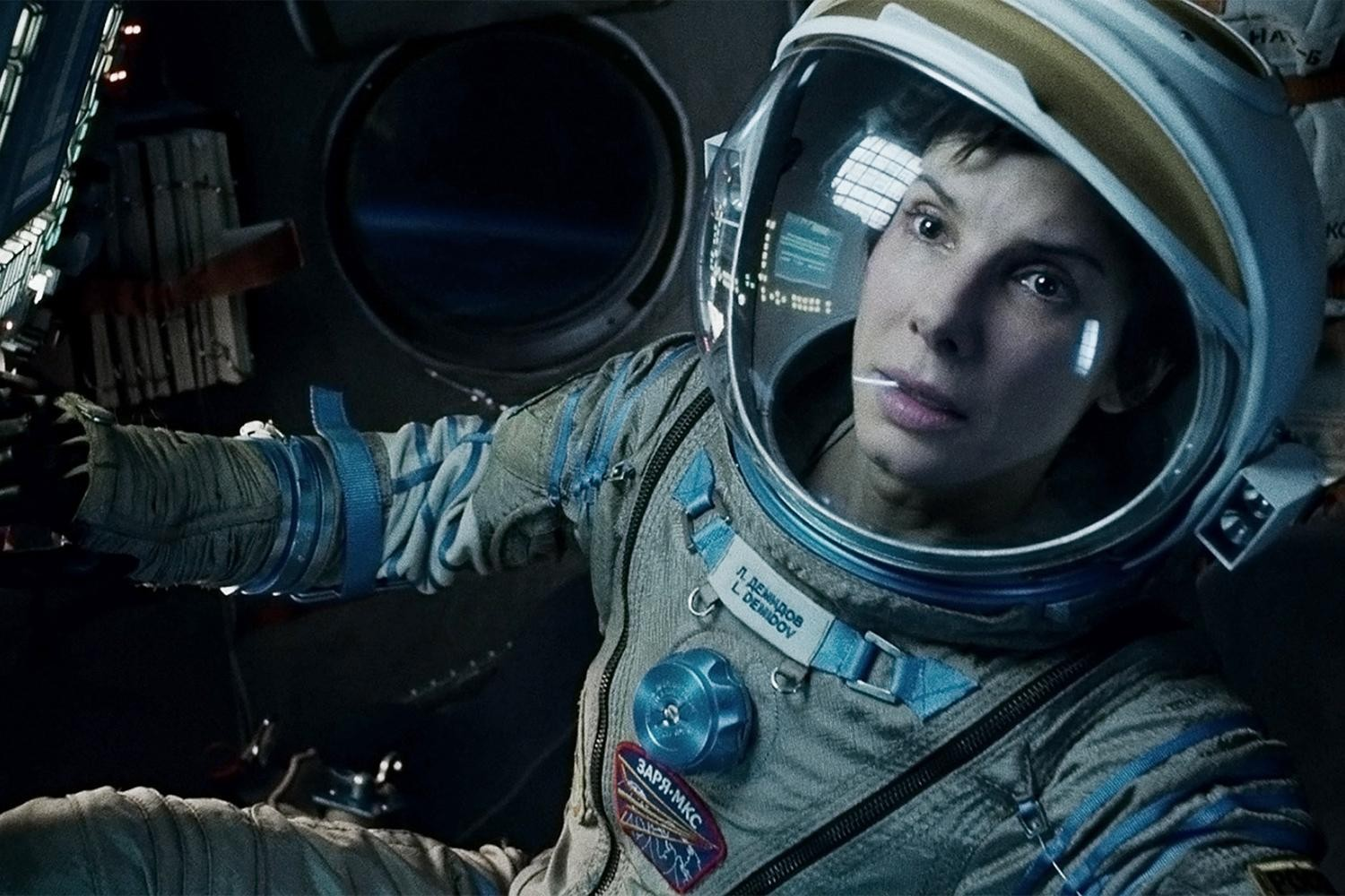 Dr Ryan Stone (Sandra Bullock) stranded in orbit in Gravity (2013)