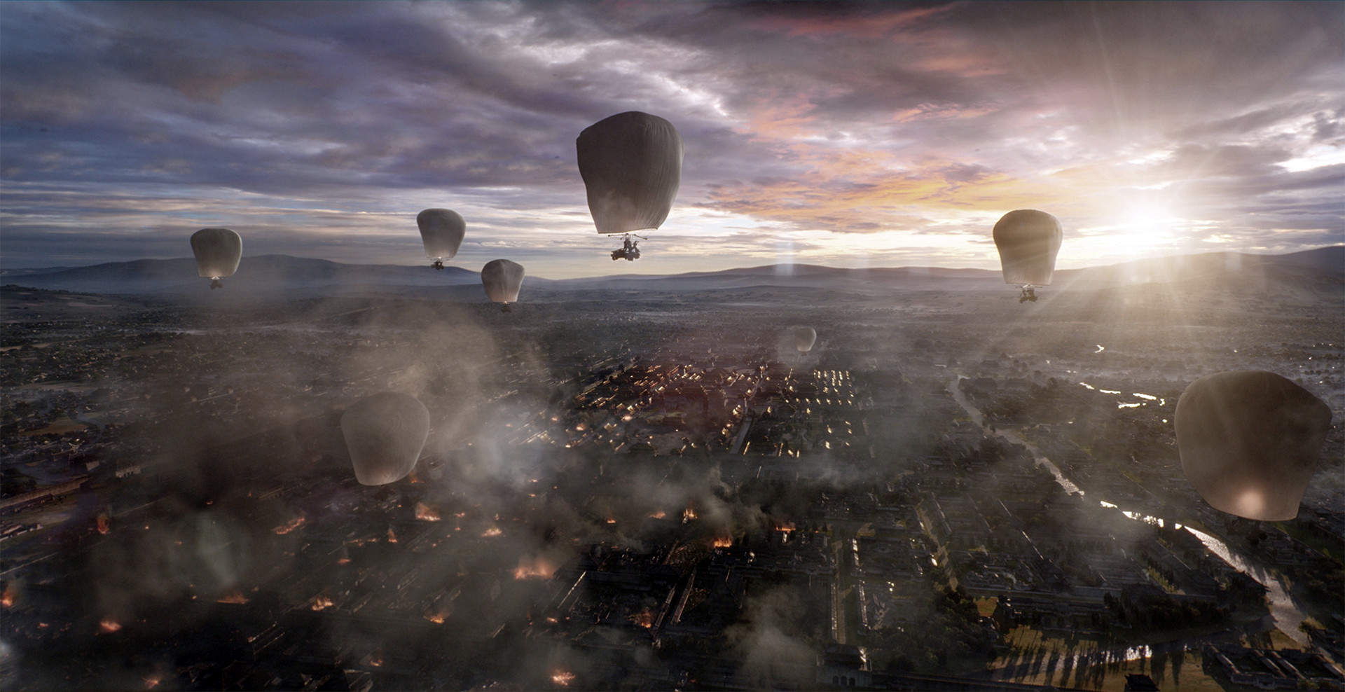 Flight of the balloons squadrons in The Great Wall (2016)