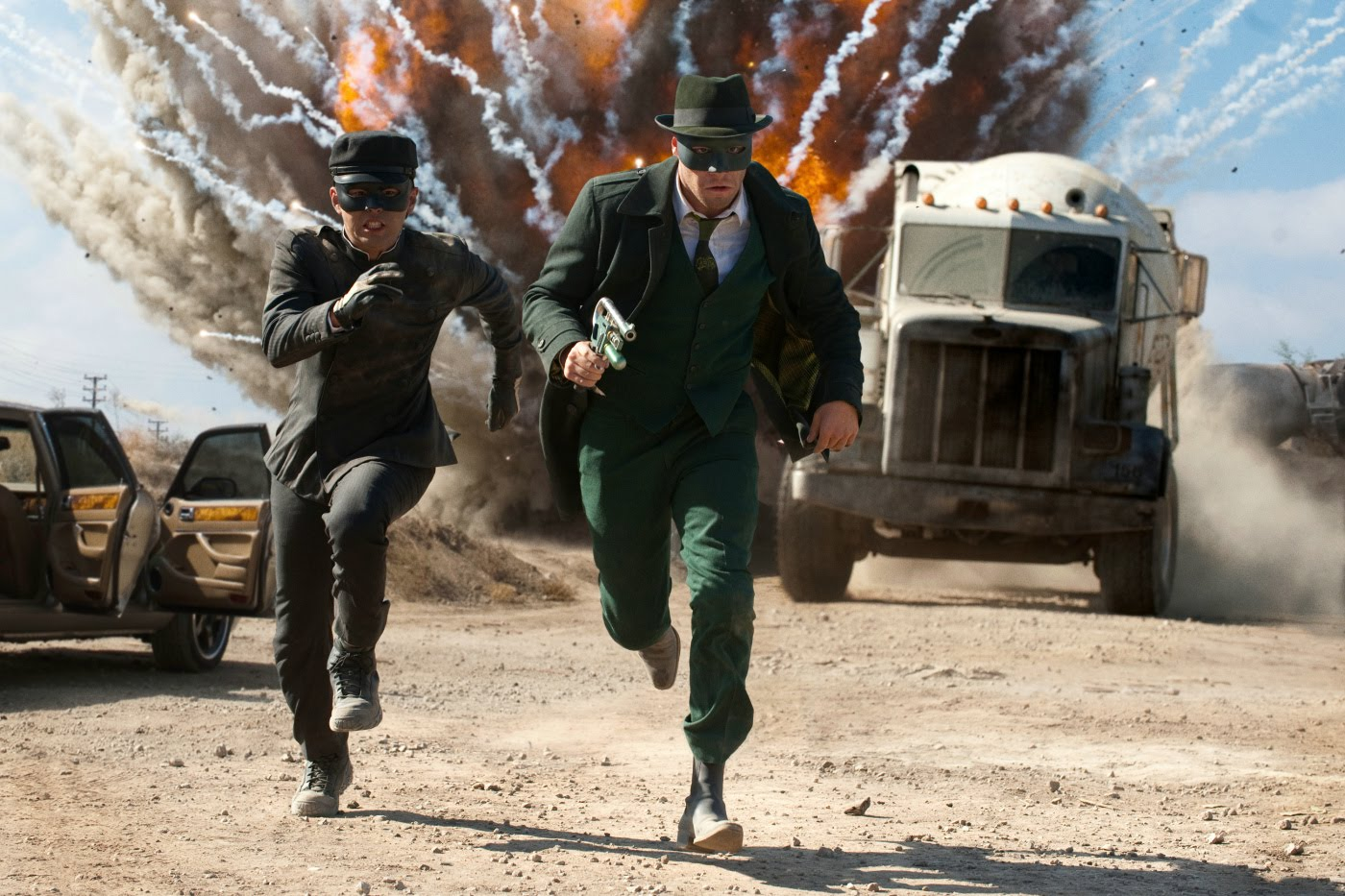 (l to r) Kato (Jay Chou) and The Green Hornet (Seth Rogen) in action in The Green Hornet (2011)