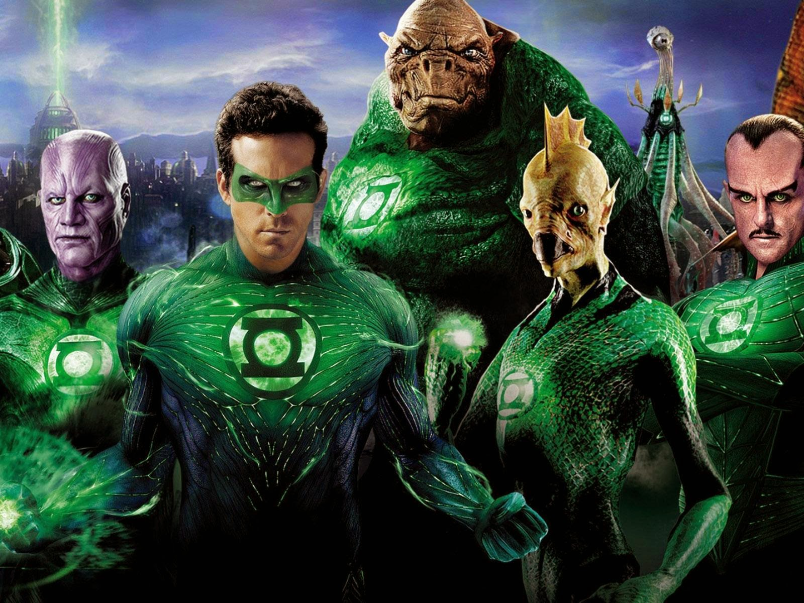 The Green Lantern Corps - Abin Sur (Temuera Morrison), Hal Jordan (Ryan Reynolds), Kilowog, Tomar-Re, Sinestro (Mark Strong) - in Green Lantern (2011)