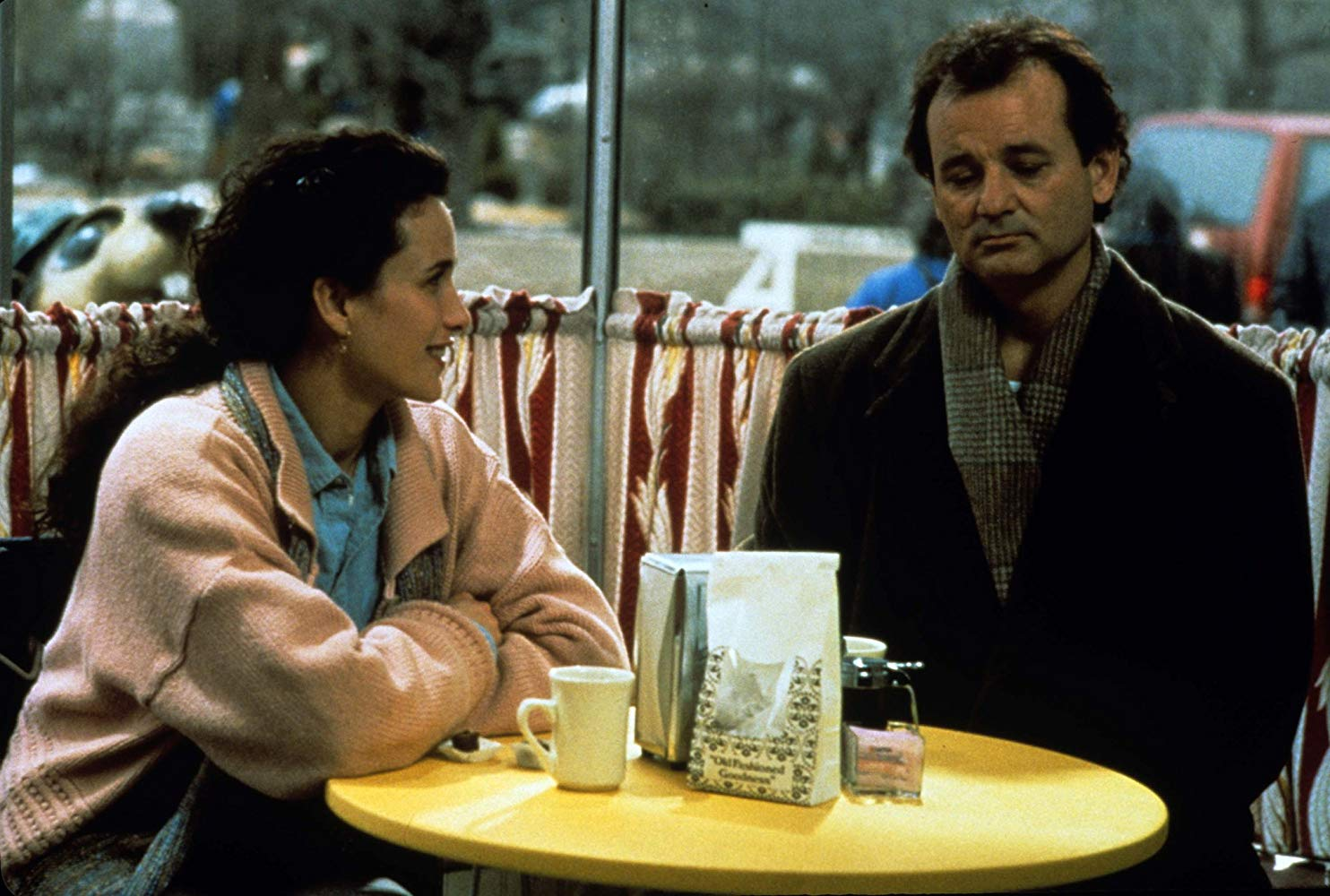 Bill Murray caught in a timeloop and forced to repeat the same day and the object of his affections Andie McDowell in Groundhog Day (1993)