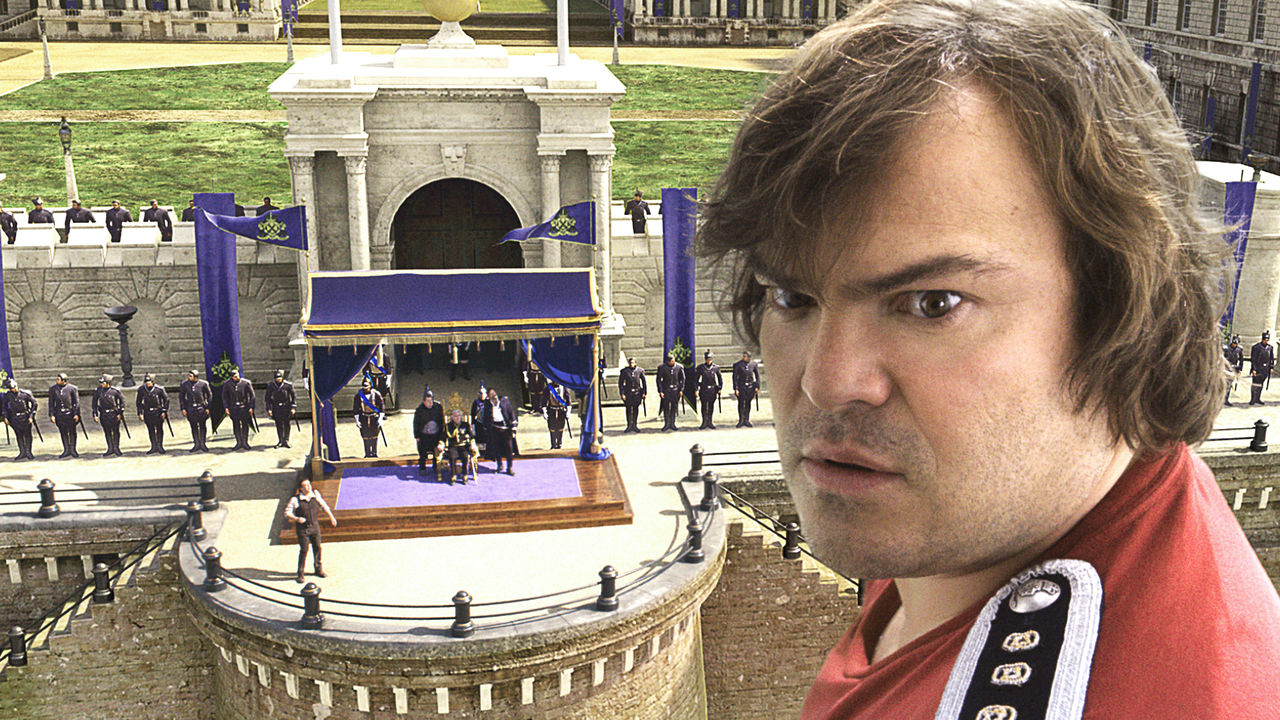 Jack Black takes command of the Lillpiutian people in Gulliver's Travels (2010)