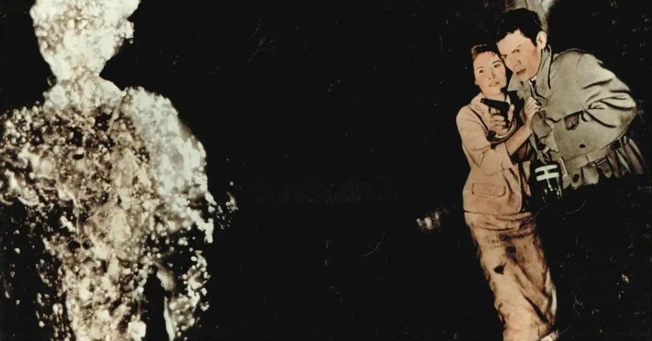 Nightclub singer Yumi Shirakawa and detective Akihiko Hirata face The H-Man (1958)
