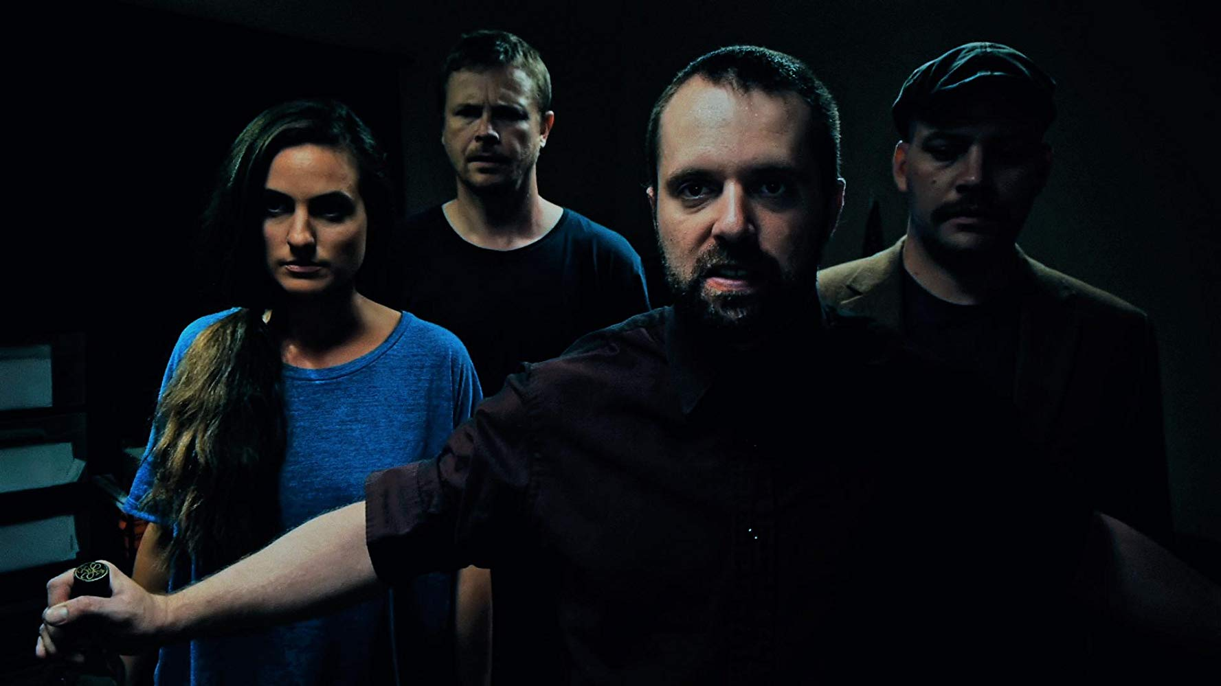 The inmates - (l to r) Brittany Joan White, James Howarth, Shaun Michael Chilton and Brandon Fisher (also the film's director/writer) in Hack House (2017)