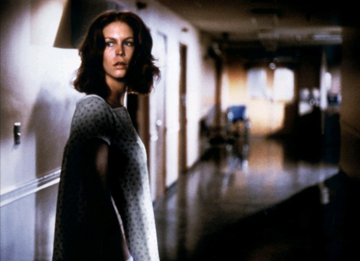 (Laurie Strode) Jamie Lee Curtis pursued through a hospital in Halloween II (1981)