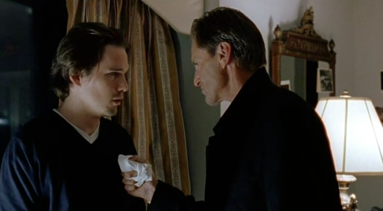 Hamlet (Ethan Hawke) meets the ghost of his father (Sam Shepard) in Hamlet (2000)