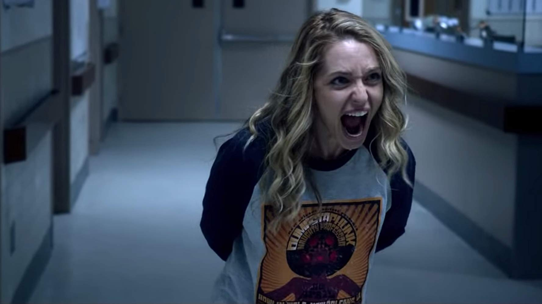 Jessica Rothe not exactly happy to find herself repeating the same day again in Happy Death Day 2U (2019)