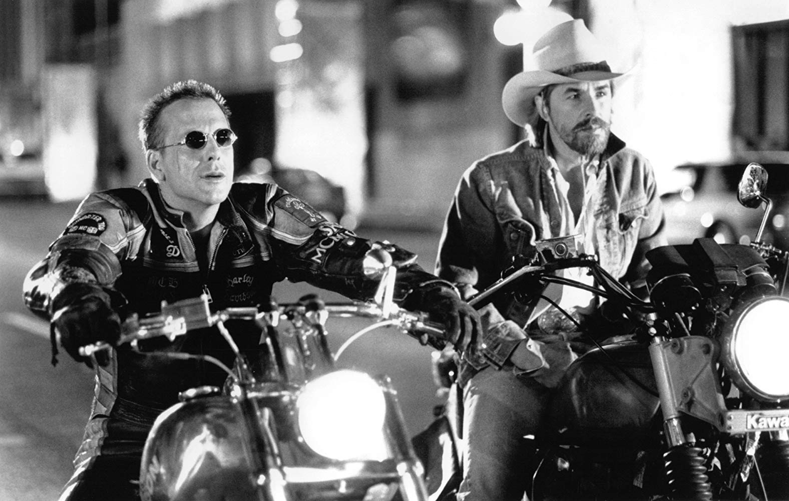 Mickey Rourke, Don Johnson as bikers in Harley Davidson and the Marlboro Man (1991)