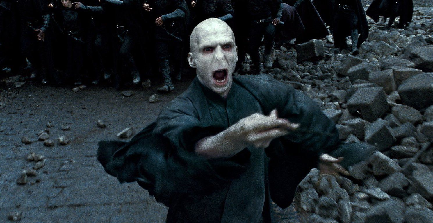 Lord Voldemort (Ralph Fiennes) leads the forces of darkness into battle in Harry Potter and the Deathly Hallows Part 2 (2011)