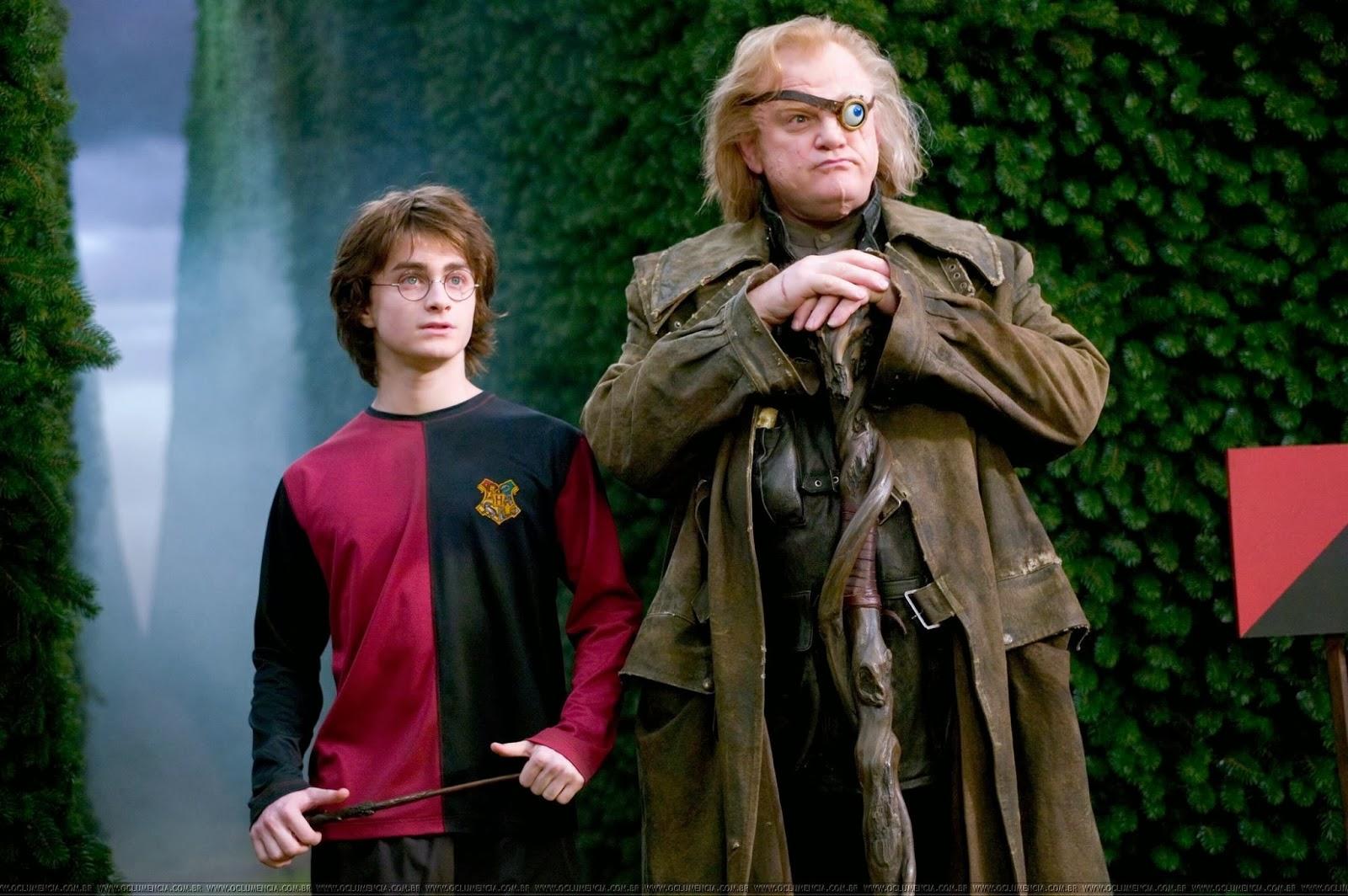 Harry Potter (Daniel Radcliffe) and new Dark Arts professor Alasdor Moody (Brendan Gleeson) in Harry Potter and the Goblet of Fire (2005)