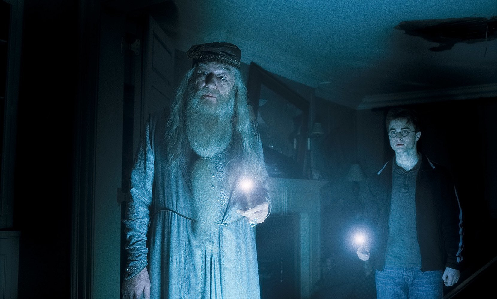 Professor Dumbledore (Michael Gambon) and Harry Potter (Daniel Radcliffe) head in search of Voldemort's Horcrux in Harry Potter and the Half-Blood Prince (2009)