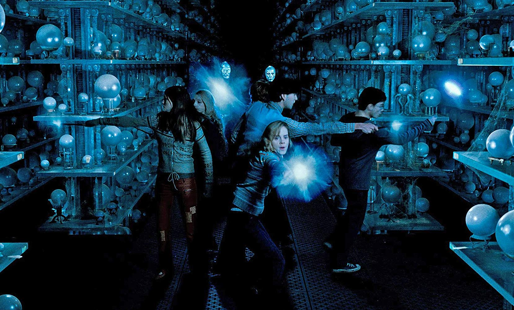 The group enter the Ministry of Magic basement in search of the prophecy in Harry Potter and the Order of the Phoenix (2007)