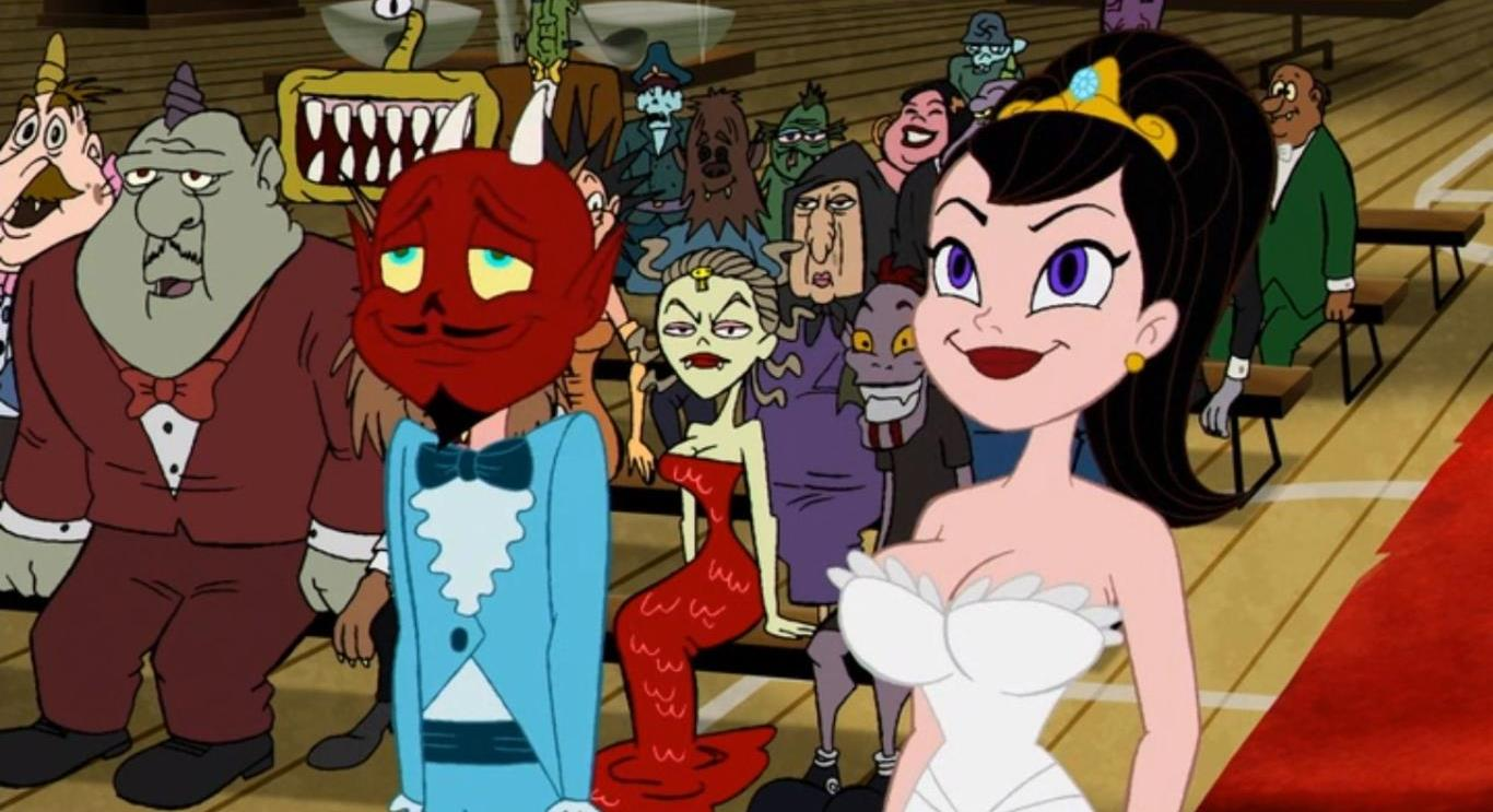 Dr Satan (voiced by Paul Giamatti) plans to marry Velvet Von Black (voiced by Rosario Dawson) in The Haunted World of El Superbeasto (2009)