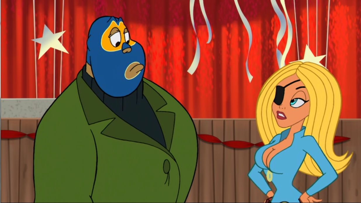El Superbeasto (voiced by Tom Papa) and Suzi X (voiced by Sheri Moon Zombie) in The Haunted World of El Superbeasto (2009)